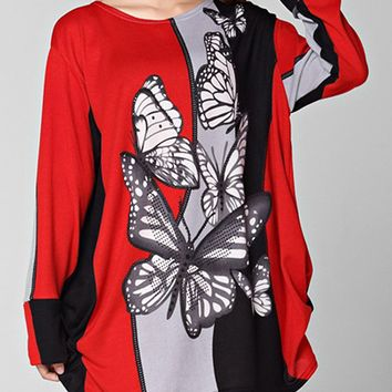 Streetstyle  Casual Butterfly Round Neck Color Block Printed Plus Size T-Shirt