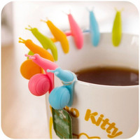 Snail Hanging Cup Label for Tea bag Wineglass Silicone Clip-Color Random
