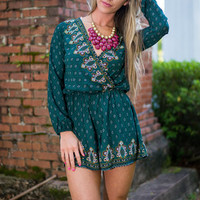 Kings And Queens Romper, Forest Green