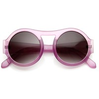 Thick Bold  Round Circle Pastel Frame Oversized Sunglasses