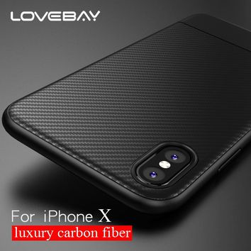 Lovebay Phone Case For iPhone 6 7 8 Plus X Luxury Carbon Fiber Soft TPU For iPhone X XR XS Max Phone Case Shockproof Back Cover