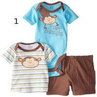 Boys Suits One-Piece Rompers Short Sleeve RomperInfant Breathable and Short Sleeve Bodysuits Fashion Baby Printing and Shorts Infant Clothes