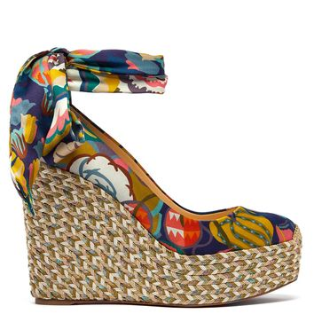 Barbaria Zeppa 120 floral satin wedge platforms | Christian Louboutin | MATCHESFASHION.COM UK