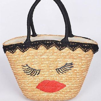 Close Your Eyes Lady Straw Bag
