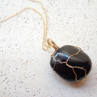 Wire Wrapped Black Jasper Pendant 14K Gold Filled Necklace Basanite Bohemian Necklace Healing Crystal