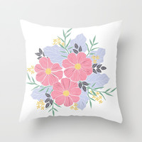Vintage Pink Flowers Throw Pillow by Smyrna