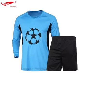 Men goalkeeper uniforms Long Sleeve Sponge Protector Doorkeeper Camisetas De Futbol  Soccer Goalkeeper Jerseys+Shorts 2 Pieces