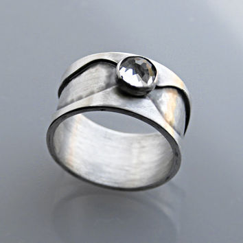 Silver Band Ring - Sterling Silver Wide Band Ring Wave Pattern Design with White Topaz Gemstone Accent - Modern Contemporary Design