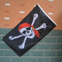 Fashion Halloween Supplies Pirate Flag Skull Crossbones Party Banner Flag Bar Decor = 1929643652