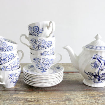 Blue Nordic by Johnson Brothers Ironstone Tea Set With Hand Engraving/English Dinnerware/Wedding Bridal Gifts / Blue Onion / Made In England