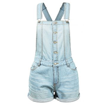 Distressed Button Down Denim Overall Shorts with Adjustable Straps