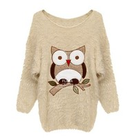 ZLYC Embroidery Owl Pullover Mohair Sweater (Beige)-(Size: length-78cm, shoulder to shoulder-43cm, bust-94cm, sleeve length-66cm)