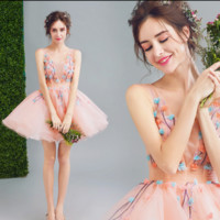 New wedding dress pink fairy flowers bridesmaid bridesmaid bride short paragraph wedding dress