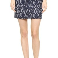 Carven Lace & Gingham Skirt