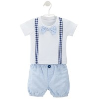 Baby Aspen Little Man Bow Tie & Suspenders Tee & Diaper Cover Gift Set - Baby Boy, Size: One Size (Blue)