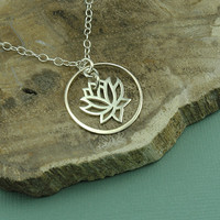 Lotus Necklace - handmade sterling silver flower pendant - yoga jewelry - circle of life