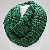 Cable Knitted Infinity Green Scarf