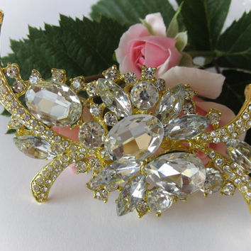 "Swarovski Crystals Gold Toned Bridal Brooch ""Icy Tears"", Wedding Brooches, Brooch Pin, Rhinestone Brooches, Vintage Style, Wedding Jewelry"