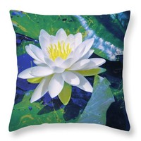 Water Lily On Sandusky Bay - Color Splash Throw Pillow