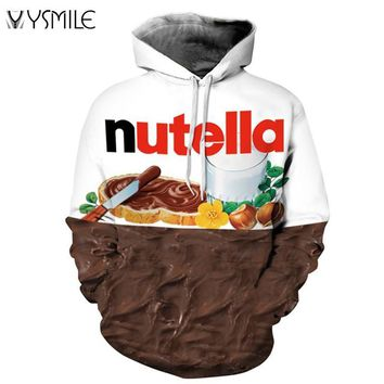 2017 Nutella Pattern Men&Women Hoodies Couples Casual Style 3D Print Personality