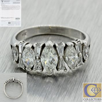 1950 Vtg 14k White Gold 1.67ct Marquise Baguette Diamond Wedding Band Ring $3535