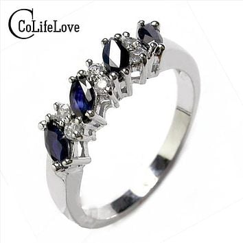Genuine sapphire ring silver 925 sapphire ring for woman 925 silver ring for girl, real sterling silver ring