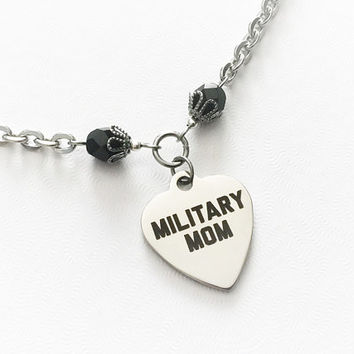 Military Mom Gift - Army Mom - Navy Mom - Air Force Mom - Marine Mom - Steel Heart Pendant - Mom Charm Jewelry - Proud Military Mom