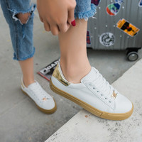 free shipping 2017 spring new fashion women shoes flats casual sport breathable PU white platform shoes women casual brand shoes