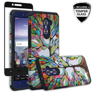 ZTE ZMAX Pro Case, ZTE Blade X Max, ZTE Carry, [Include Temper Glass Screen Protector] Slim Hybrid Dual Layer Armor[Shock Absorbent] Case for ZMAX Pro - Colorful Tree