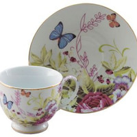 Porcelain Butterfly Teacups Case of 24 includes 24 Tea Cups & 24 Saucers