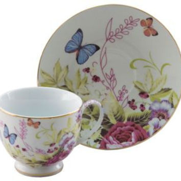 Porcelain Butterfly Teacups Set of 6 includes 6 Tea Cups & 6 Saucers