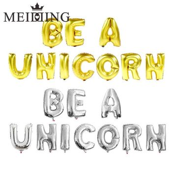"MEIDDING-16inch""gold/silver Letters 'BE A UNICORN"" Foil Helium Balloons Party Balloons  Baby Shower Kids Birthday Decorative"