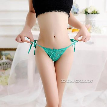 GZDL Sexy Women G-String Briefs Lingerie Mesh Bow Style Hollow Out Crochet V-String Thong Intimates Lady Underwear Panties NY301