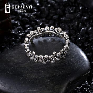 GOMAYA Flower Vintage Retro Daisy Flower Rings 925 Sterling Silver Unique Aneis de Prata Fine Jewelry Gift for Women