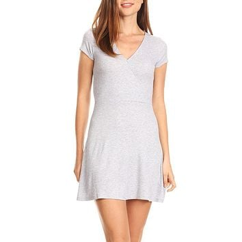 LE3NO Womens Stretchy Ribbed Cap Sleeve V Neck Skater Dress