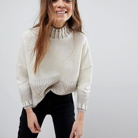 Only Dip Hem Knit Sweater with Detail at asos.com