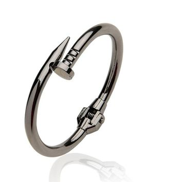 Stylish Titanium Spring Nail Screw Cuff Bangle Bracelet for Men's by Ritzy