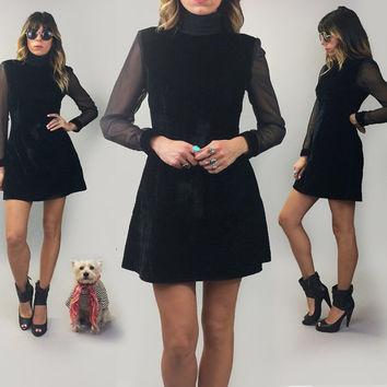 Vintage 1970's Midnight Black VELVET Mini Dress || Witchy Goth Velvet Holiday Party Cocktail Crushed Velvet Dress  Size Xs to S Size 2 to 4
