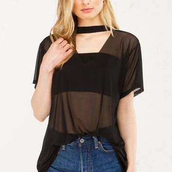Mesh V Neck Top in Black and White