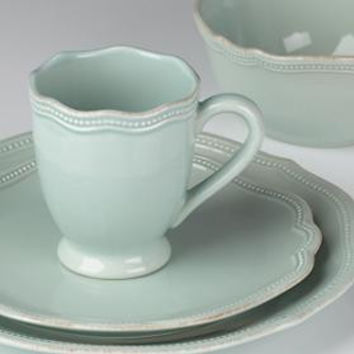 French Perle Ice Blue Bead 4-Piece Place Setting by Lenox