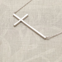 Sideways Cross Necklace In Silver on Luulla