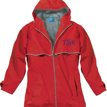 Red Monogrammed Raincoat Custom Embroidery Nautical Anchor Waterproof Windproof Charles River Apparel