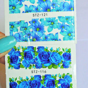 2 sheets Blue Flower Nail wrap, Floral Nail Art, Nail Design, Water Decals, Nail wrap, Blue Rose, Nail Decorations, Teens, Nails, Womens
