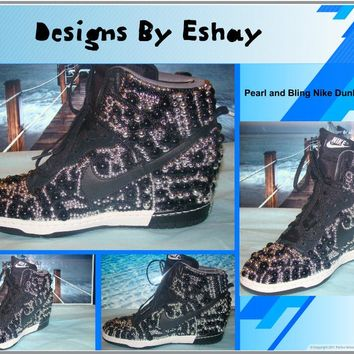 Black Silver Pearls Nike Dunk Sky Hi Wedges 0d58c27207