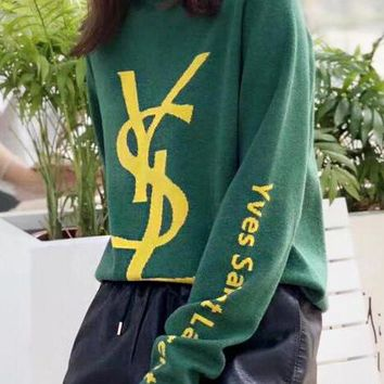 YSL Autumn Winter Popular Women Casual Print Long Sleeve Knit Sweater Pullover Top Sweatshirt Green