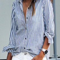 Blue Vertical Stripes Long Sleeve Shirt