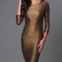 Metallic Midi Dress by XOXO with Three Quarter Length Sleeves
