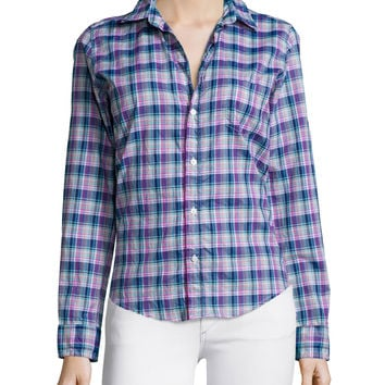 Barry Long-Sleeve Plaid Poplin Shirt, Navy/Purple/Green, Size: