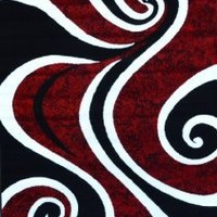 0327 Red Black Swirl White Area Rug Carpet 5x7 Modern Abstract