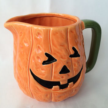 Halloween, Pumpkin Pitcher, Vintage, Jack O Lantern, Halloween Serving, Home decor, Orange and Black, Halloween decor,  JackoLantern Juice